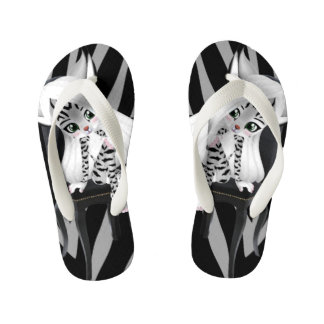 Silver Tiger Stripes and Cartoon Cat Girl Kid's Flip Flops
