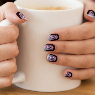 Silver Tip Black Rose Candy Skull Nails Minx Nail Art