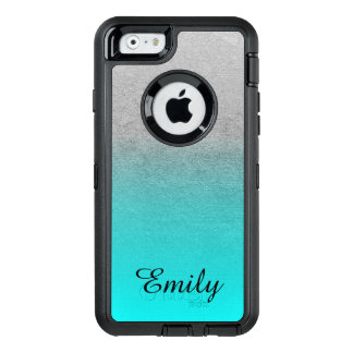 Silver Tone Aqua Ombre Personalized OtterBox Defender iPhone Case
