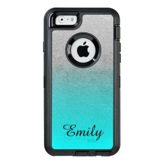 Silver Tone Aqua Ombre Personalized OtterBox iPhone 6/6s Case