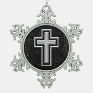 Silver Tone Christian Cross on Black Sparkle Pewter Snowflake Ornament