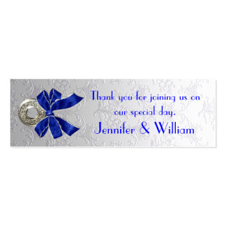 Silver Tone Damask Custom Wedding Favor Tags Double-Sided Mini Business Cards (Pack Of 20)