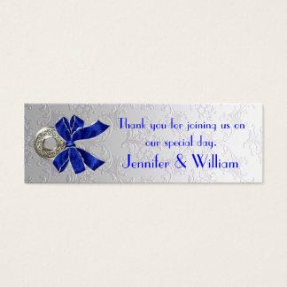 Silver Tone Damask Custom Wedding Favor Tags Mini Business Card