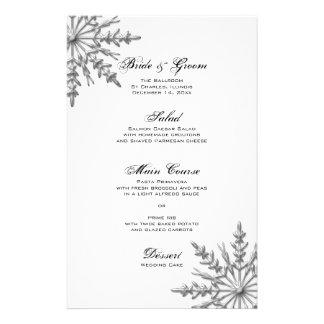 Silver Tone Snowflake Winter Wedding Menu Customized Stationery