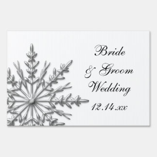 Silver Tone Snowflake Winter Wedding Sign