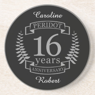 Silver Traditional wedding anniversary 16 years Coaster