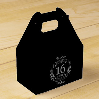 Silver Traditional wedding anniversary 16 years Favor Box