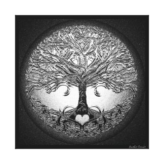 Silver Tree with Heart Canvas Print