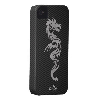 Silver Tribal Dragon with Faux Carbon Fiber iPhone 4 Case-Mate Case
