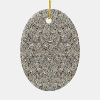 Silver Tropical Print Ceramic Oval Ornament