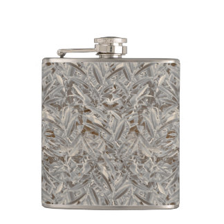 Silver Tropical Print Hip Flask