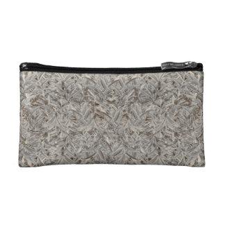 Silver Tropical Print Makeup Bag