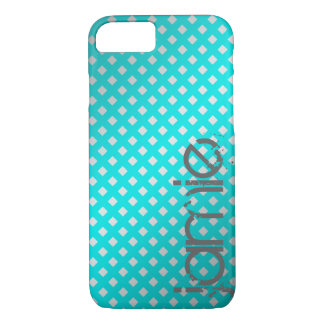 silver & turquoise diagonal grid with name iPhone 8/7 case