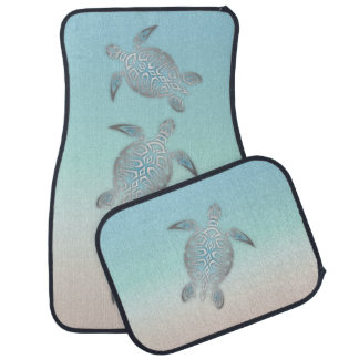 Silver Turquoise Sea Turtle Car Liners