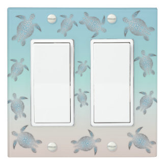 Silver Turquoise Sea Turtles Beach Light Switch Cover