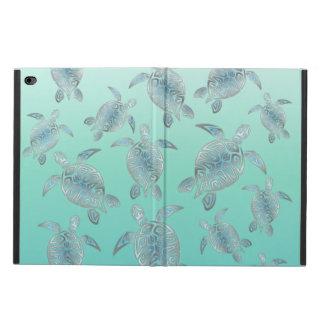 Silver Turquoise Sea Turtles Pattern