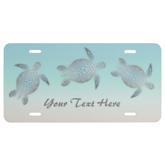 Silver Turquoise Sea Turtles Personalize License Plate