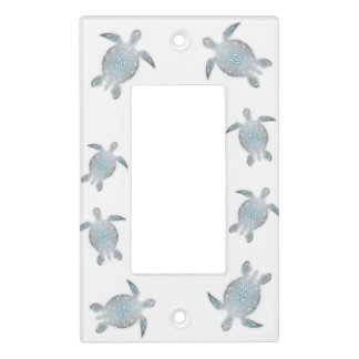 Silver Turquoise Sea Turtles  White Light Switch Cover