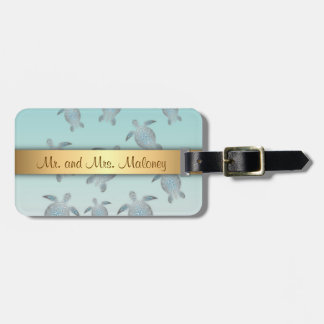 Silver Turtles Beach Style Luggage Tag