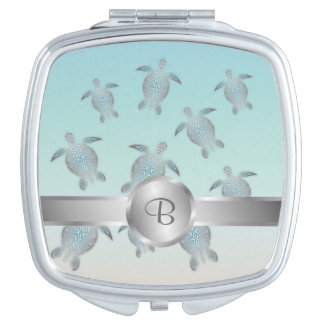 Silver Turtles Beach Style Makeup Mirror