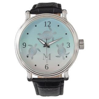 Silver Turtles Beach Style  Monogram Watch