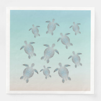 Silver Turtles Beach Style Paper Dinner Napkin