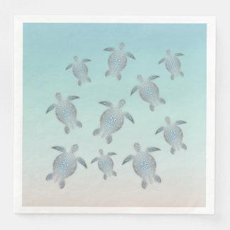 Silver Turtles Beach Style Paper Napkin