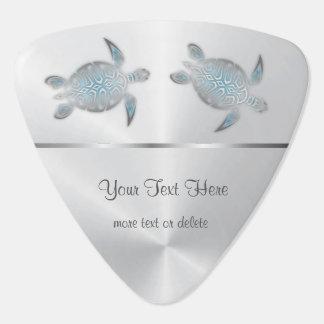 Silver Turtles Blue Gradient Monogram Guitar Pick