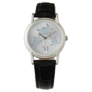 Silver Turtles Monogram Wrist Watches