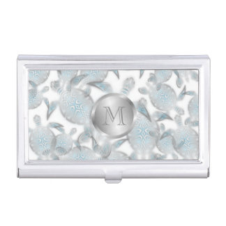 Silver Turtles  Pattern Monogram Business Card Holder