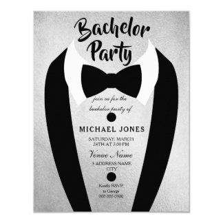 Silver Tuxedo Bow Tie Bachelor Party Invite