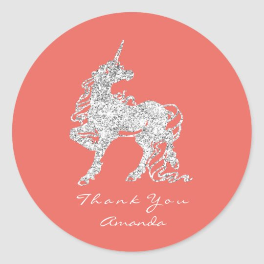 Silver Unicorn Horse Stars Thank You White Coral Classic Round Sticker