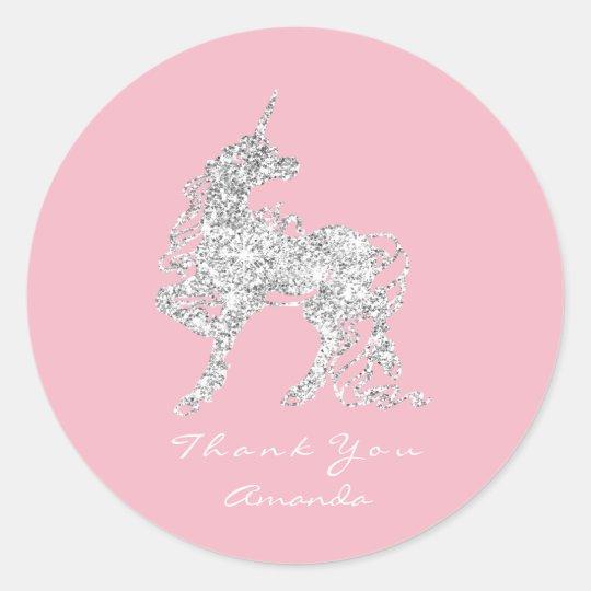 Silver Unicorn Horse Stars Thank You White Pink Classic Round Sticker