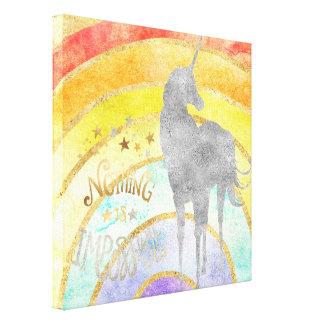 Silver Unicorn Rainbow Canvas Print