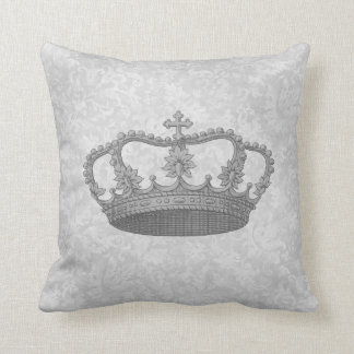 Silver Vintage Crown Silver Gray Backgrond Throw Pillow