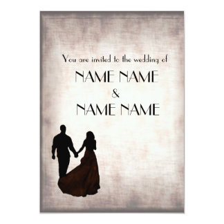 "Silver Vintage Wedding in silhouette 5"" X 7"" Invitation Card"