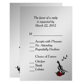 Silver Violin Music RSVP with Entree Choices Card
