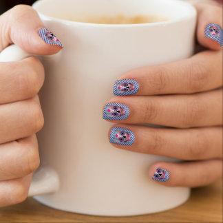 Silver W/ Blue Stripes Rose Candy Skull Nails Minx Nail Art