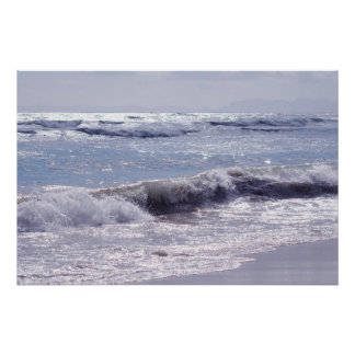 Silver waves breaking on the beach poster