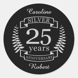 Silver wedding anniversary 25 years classic round sticker
