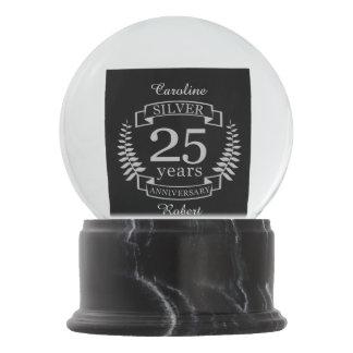 Silver wedding anniversary 25 years snow globe