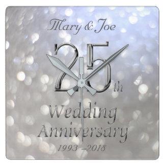 Silver Wedding Anniversary 25th Anniversary Bokeh Wallclock