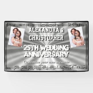 Silver wedding anniversary custom photo banner
