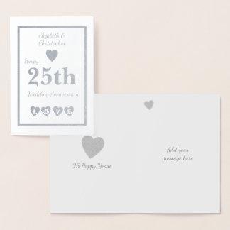 Silver Wedding Anniversary Foil Card