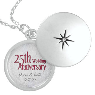 Silver Wedding Anniversary Locket Necklace