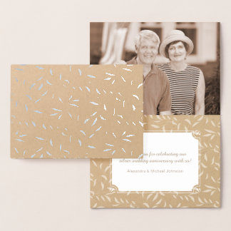 Silver Wedding Anniversary Thank You Notes Foil Card