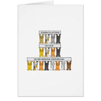 Silver wedding anniversary with cats. card