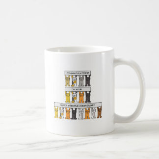 Silver wedding anniversary with cats. coffee mug