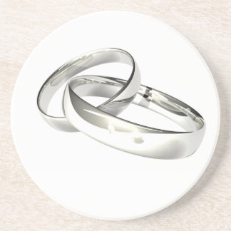 Silver Wedding Bands Save the Date Beverage Coasters