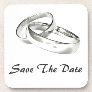 Silver Wedding Bands Save the Date Drink Coasters